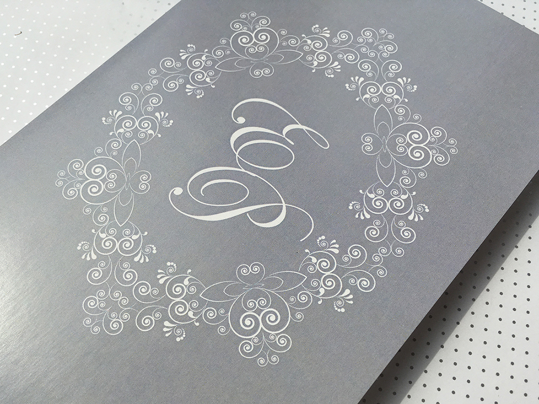 classic grey Wedding invitation card with monogram sweet postjpg
