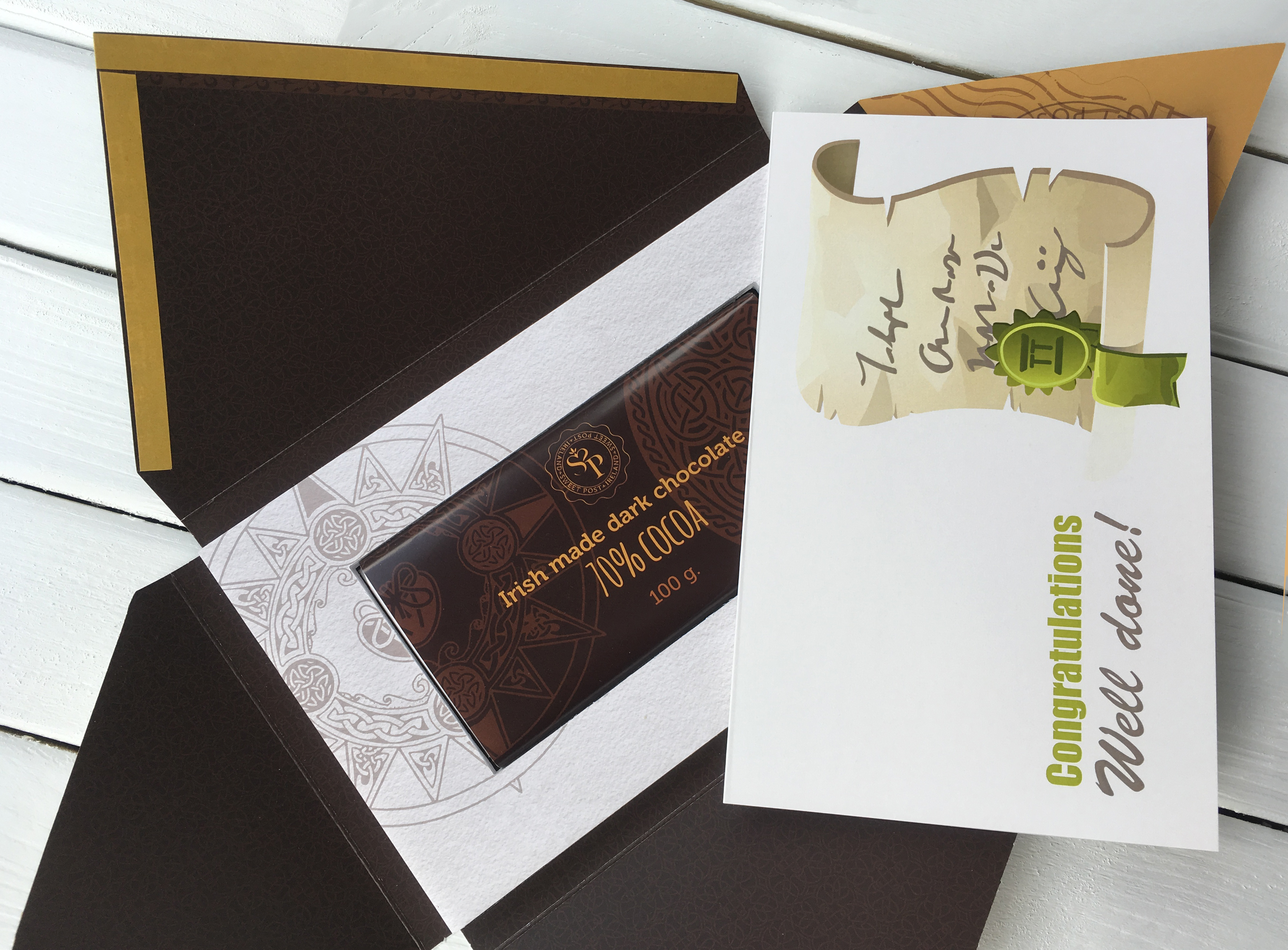 Congratulations well done card with irish chocolate