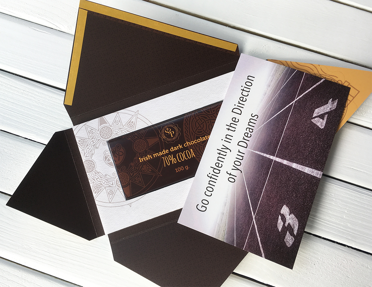 Go confidently in the Direction to your dreams card with chocolate and sweet post packaging