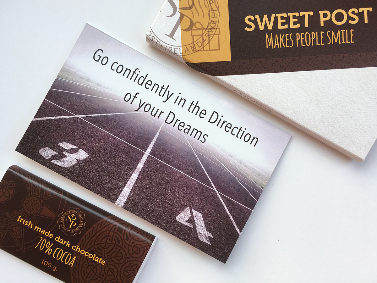 Go confidently in the direction of your dreams card and irish chocolate