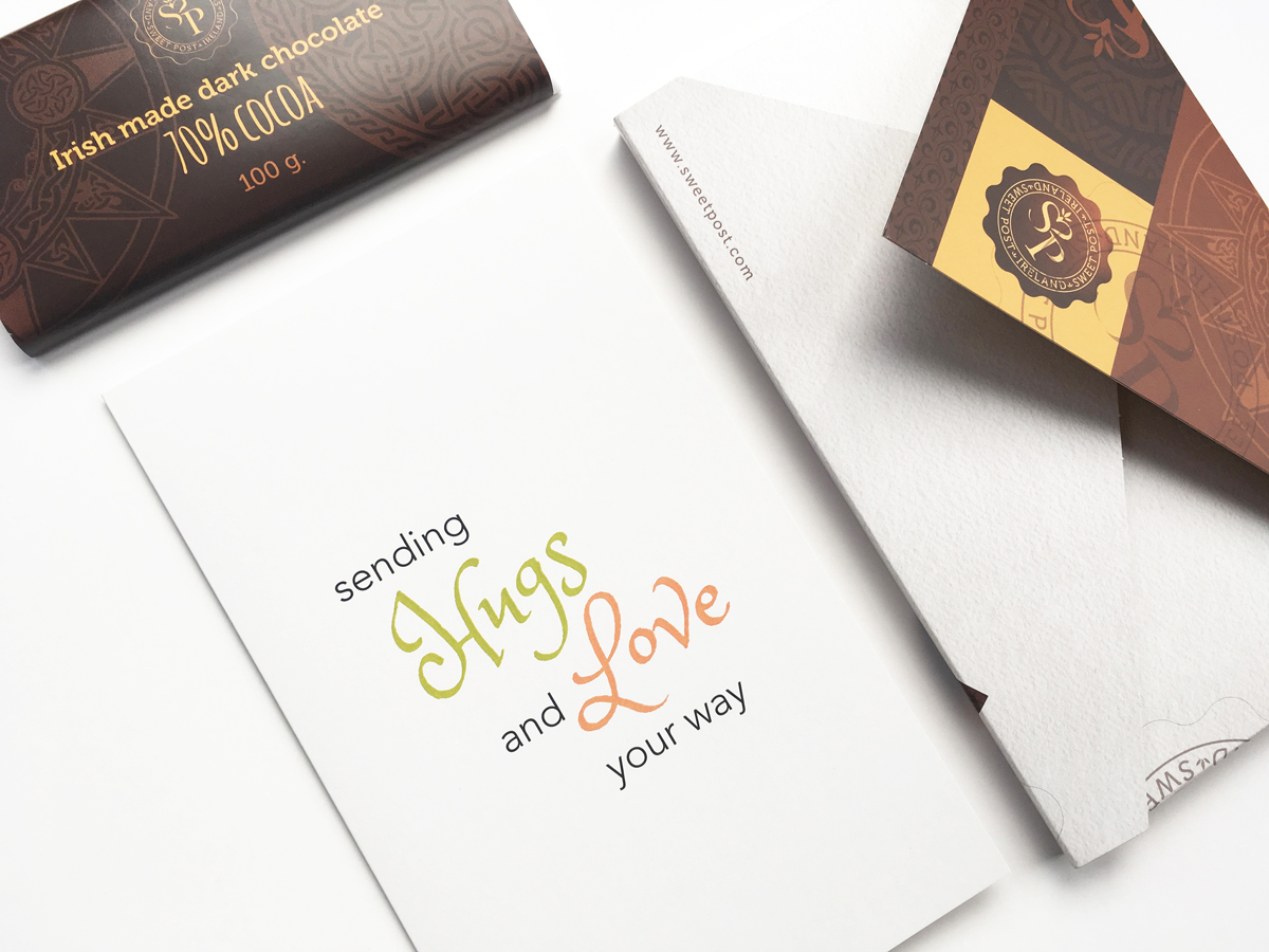 sending Hugs and Love your way card and irish chocolates