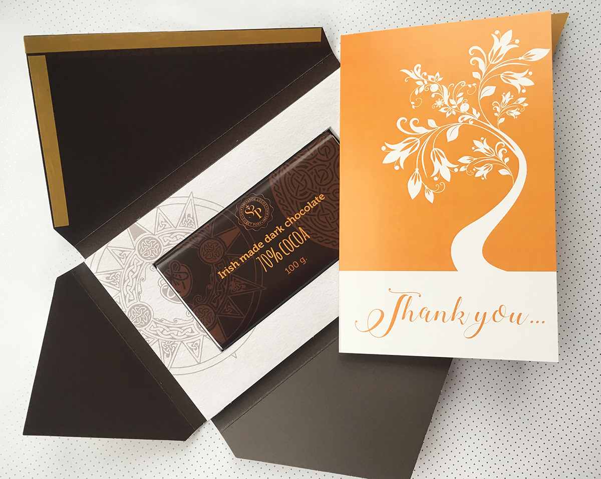 Thank you card Go Orange with irish chocolate in the Sweet Post packaging