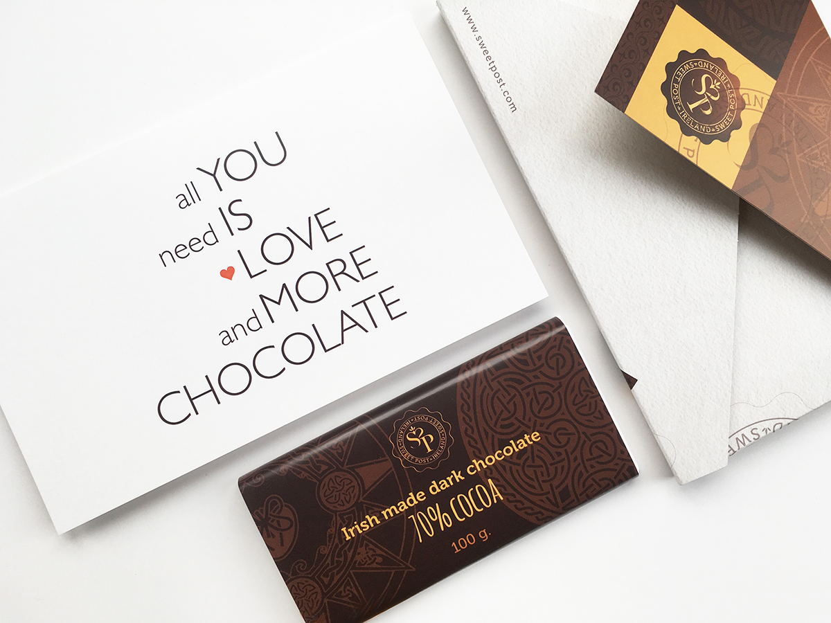 All you need is love card and dark chocolate