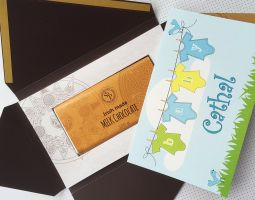 Baby boy personalised card with Irish chocolate